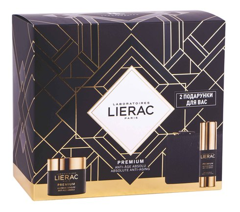 Lierac Premium Крем шовковистий 50 мл + Крем для шкіри навколо очей 15 мл + косметичка 1 набір