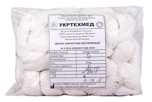 Укртехмед Поліестер плетений Нитки хірургічні нестерильні 100 м білий 6 шт