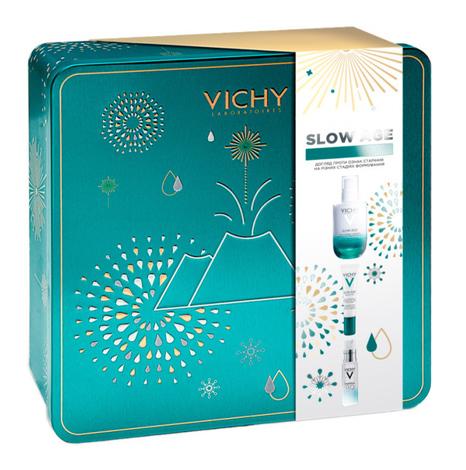 Vichy Slow Age Щоденний флюід 50 мл + засіб для шкіри навколо очей 15 мл + Mineral 89 гель-бустер 5 мл 1 набір