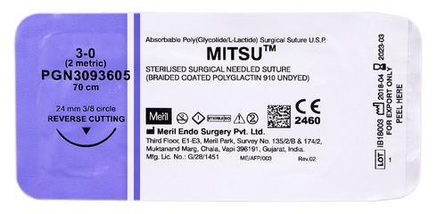 Meril Mitsu 3-0 Шовний матеріал 70 см нефарбований, колюча голка 24 мм 3/8 кола PGN3093605 1 шт