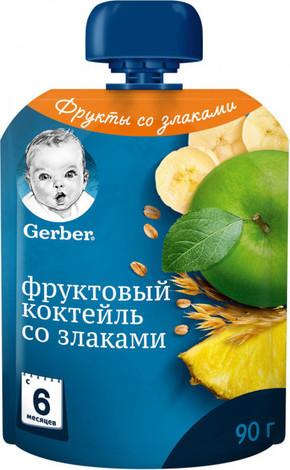 Gerber Пюре Фруктовий коктейль зі злаками з 6 місяців 90 г 1 пауч