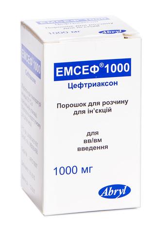 Емсеф 1000 порошок для ін'єкцій 1000 мг 1 флакон