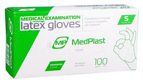 Medplast Рукавички оглядові латексні припудрені нестерильні S 1 пара