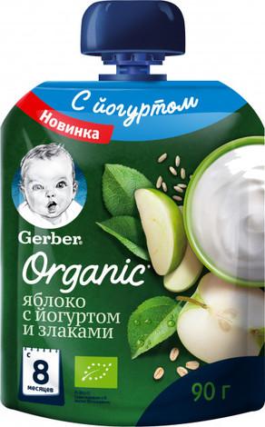 Gerber Organic Пюре Яблуко з йогуртом і злаками з 8 місяців 90 г 1 пауч