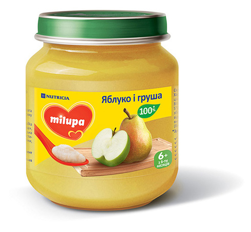 Milupa Пюре Яблуко і груша з 6 місяців 125 г 1 банка