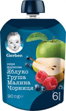 Gerber Пюре Яблуко, груша, малина, чорниця з 6 місяців 90 г 1 пауч