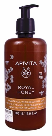 """Apivita Крем-гель для душу з ефірними оліями """"Королівський мед"""" 500 мл 1 флакон"""