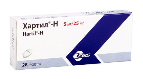 Хартил-Н таблетки 5 мг/25 мг  28 шт