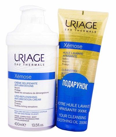 Uriage Xemose крем проти подразнення 400 мл + олія очищаюча 200 мл 1 набір