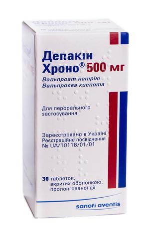 Депакін Хроно таблетки 500 мг 30 шт