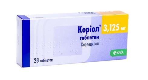 Коріол таблетки 3,125 мг 28 шт