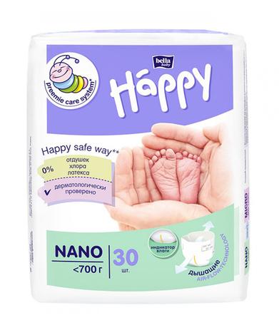 Bella Baby Happy Підгузки дитячі Nano для немовлят вагою до 700 г 30 шт