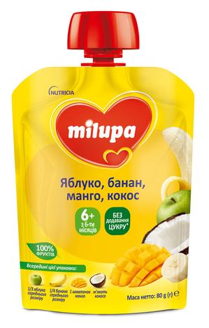 Milupa Пюре Яблуко, банан, манго з кокосовим молоком з 6 місяців 80 г 1 пауч
