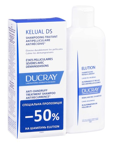 Ducray Kelual DS шампунь 100 мл + Elution шампунь 200 мл 1 набір