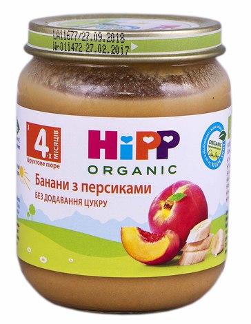 HiPP Пюре Банани з персиками з 4 місяців 125 г 1 банка