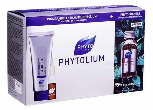 Phyto Phytolium шампунь 125 мл + 4 концентрат 12х3,5 мл + фітофанер 120 капсул 1 набір