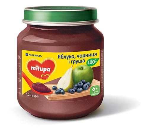 Milupa Пюре Яблуко, чорниця і груша з 6 місяців 125 г 1 банка