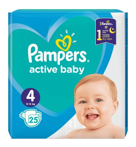 Pampers Active Baby-Dry 4 Maxi Підгузки дитячі 9-14 кг 25 шт
