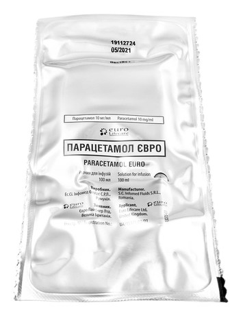 Парацетамол євро розчин для інфузій 10 мг/мл 100 мл 12 контейнерів