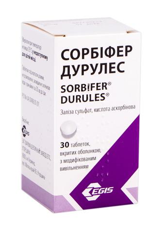 Сорбіфер Дурулес таблетки 320 мг/60 мг  30 шт