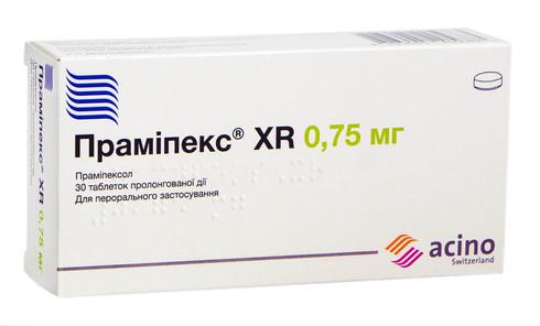 Праміпекс XR таблетки 0,75 мг 30 шт