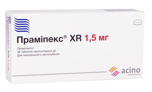 Праміпекс XR таблетки 1,5 мг 30 шт