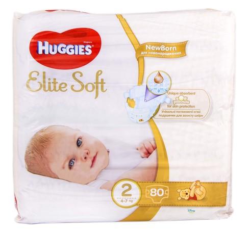 Huggies Elite Soft 2 Підгузки для новонароджених 4-7 кг 80 шт