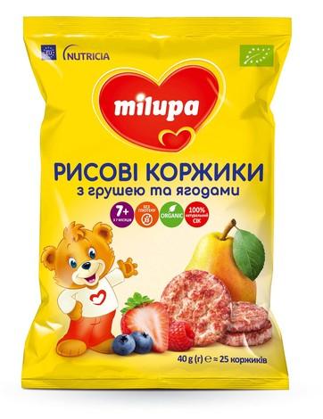 Milupa Рисові коржики з грушею та ягодами для дітей від 7 місяців 40 г 1 пакет