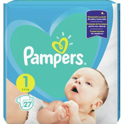 Pampers New Baby-Dry 1 Newborn Підгузки дитячі 2-5 кг 27 шт