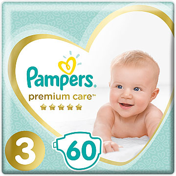 Pampers Premium Care 3 Midi Підгузки дитячі 6-10 кг 60 шт