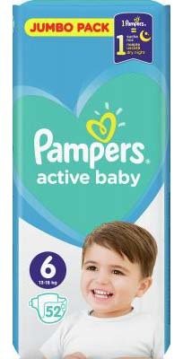 Pampers Active Baby-Dry 6 Extra Large Підгузки дитячі 13-18 кг 52 шт
