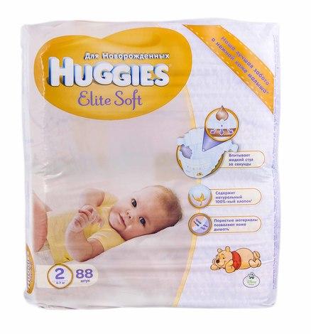Huggies Elite Soft 2 Підгузки для новонароджених 4-7 кг 88 шт