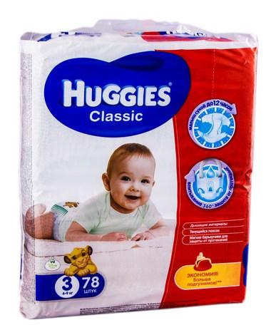Huggies Classic 3 Підгузки дитячі 4-9 кг 78 шт