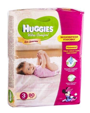Huggies Ultra Comfort 3 Підгузки для дівчаток 5-9 кг 80 шт
