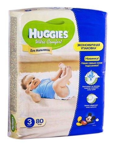 Huggies Ultra Comfort 3 Підгузки для хлопчиків 5-9 кг 80 шт