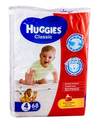 Huggies Classic 4 Підгузки дитячі 7-18 кг 68 шт