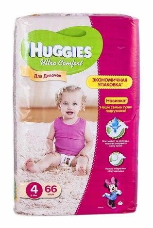 Huggies Ultra Comfort 4 Підгузки для дівчаток 8-14 кг 66 шт