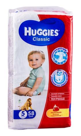 Huggies Classic 5 Підгузки дитячі 11-25 кг 58 шт
