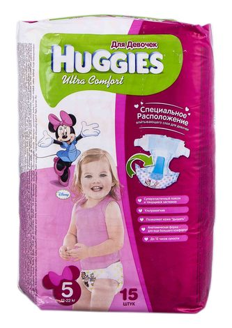 Huggies Ultra Comfort 5 Підгузки для дівчаток 12-22 кг 15 шт