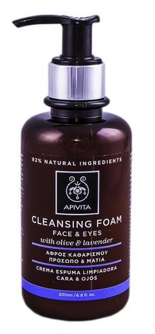 Apivita Cleansing Пінка для очищення обличчя і очей з оливою і лавандою 200 мл 1 флакон