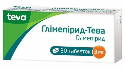 Глімепірид Тева таблетки 3 мг 30 шт