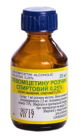 Левоміцетин розчин спиртовий 0,25 % 25 мл 1 флакон