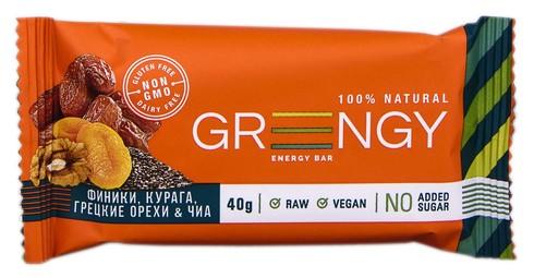 Greengy Батончик енергетичний Фініки, курага, грецькі горіхи & чіа  40 г