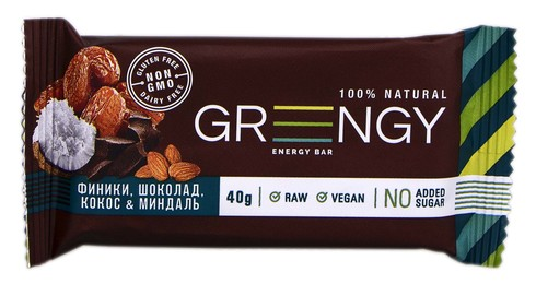 Greengy Батончик енергетичний Фініки, шоколад, кокос & мигдаль  40 г