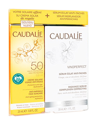 Caudalie Vinoperfect Сироватка-сяйво проти пігментних плям 30 мл + крем для обличчя сонцезахисний SPF50 25 мл 1 набір