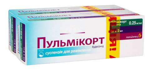 Пульмікорт 2х20 суспензія для інгаляцій 0,25 мг/мл 2 мл 1 набір