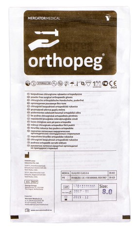 Orthopeg Рукавички латексні хірургічні ортопедичні неприпудрені стерильні розмір 8 1 пара