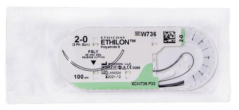 Ethicon Ethilon 2-0 Шовний матеріал чорний 100 см, голка зворотньо-ріжуча FSLY 45 мм W736 1 шт