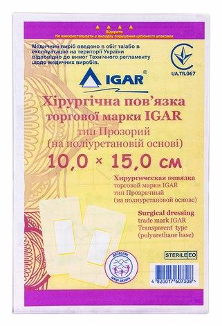 Igar Пов'язка хірургічна тип Прозорий (на поліуретановій основі) 10,0 х 15,0 см 1 шт