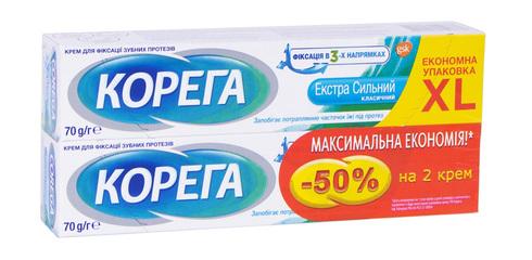 Корега Крем для фіксації зубних протезів Екстра сильний 2х70 г 1 набір